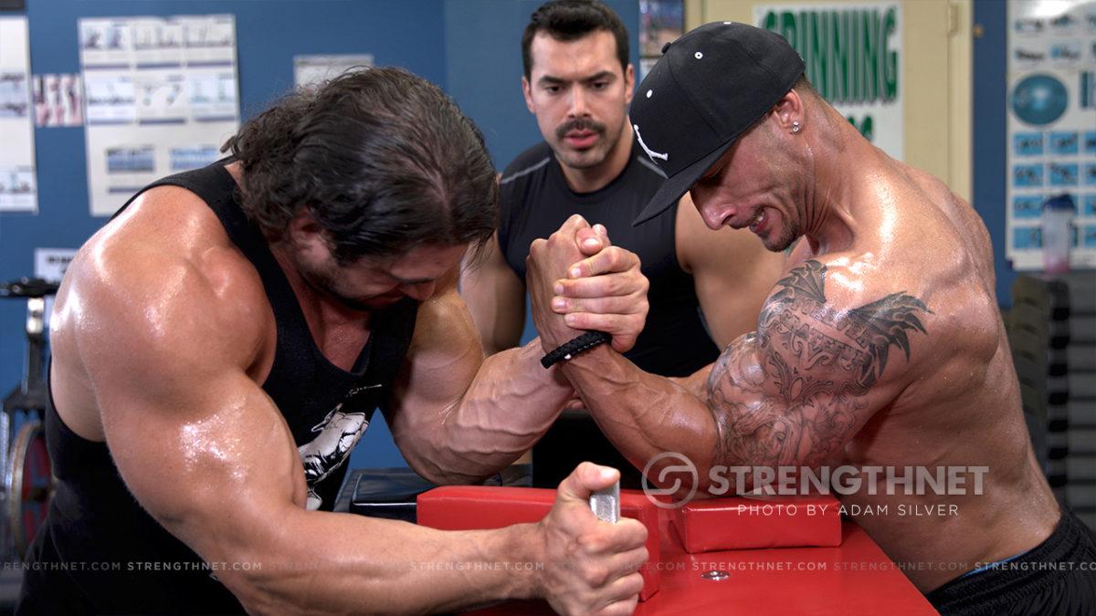Adam Russo arm wrestling: joe russo vs brett azar (bodybuilder vs